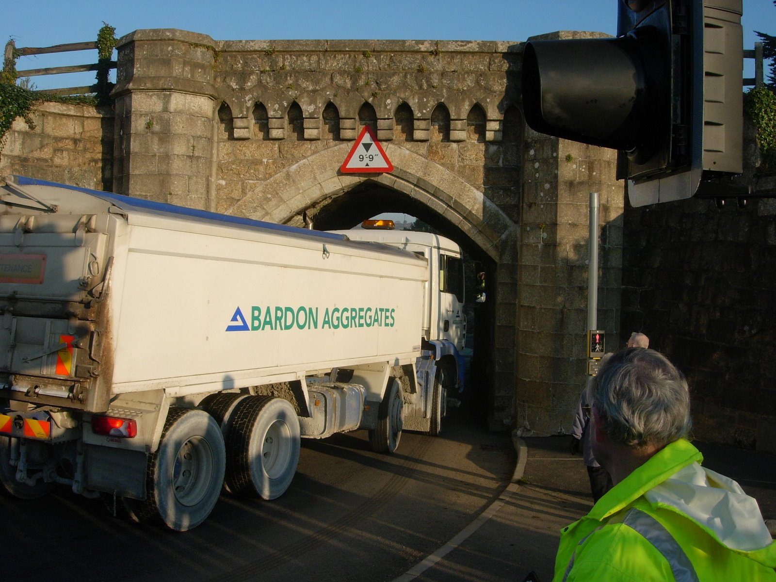 Trial lorry going through arch